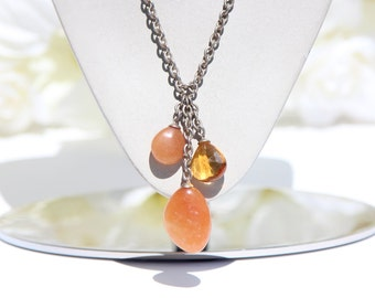 Amber Bead Stone Gem Dangle Necklace