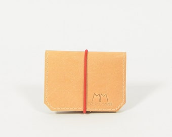 Isaac - beige/red leather wallet