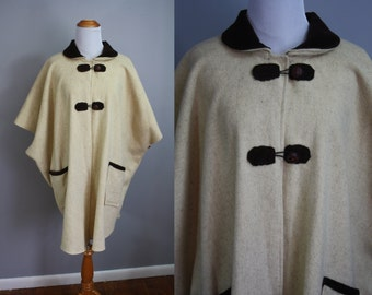 1970's Poncho // Two Tone Wool // One-Size