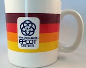 Vintage Walt Disney World Epcot Center Mug Striped 1980's with ORIGINAL PRICE TAG on Bottom Disneyana