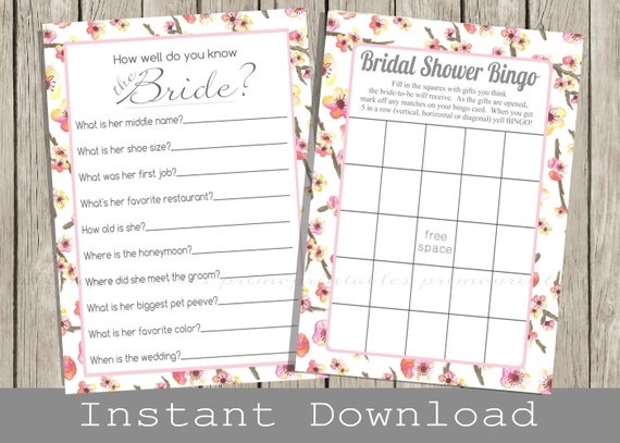 Pink BRIDAL Shower Games Set / Bingo Game, How Well Do You