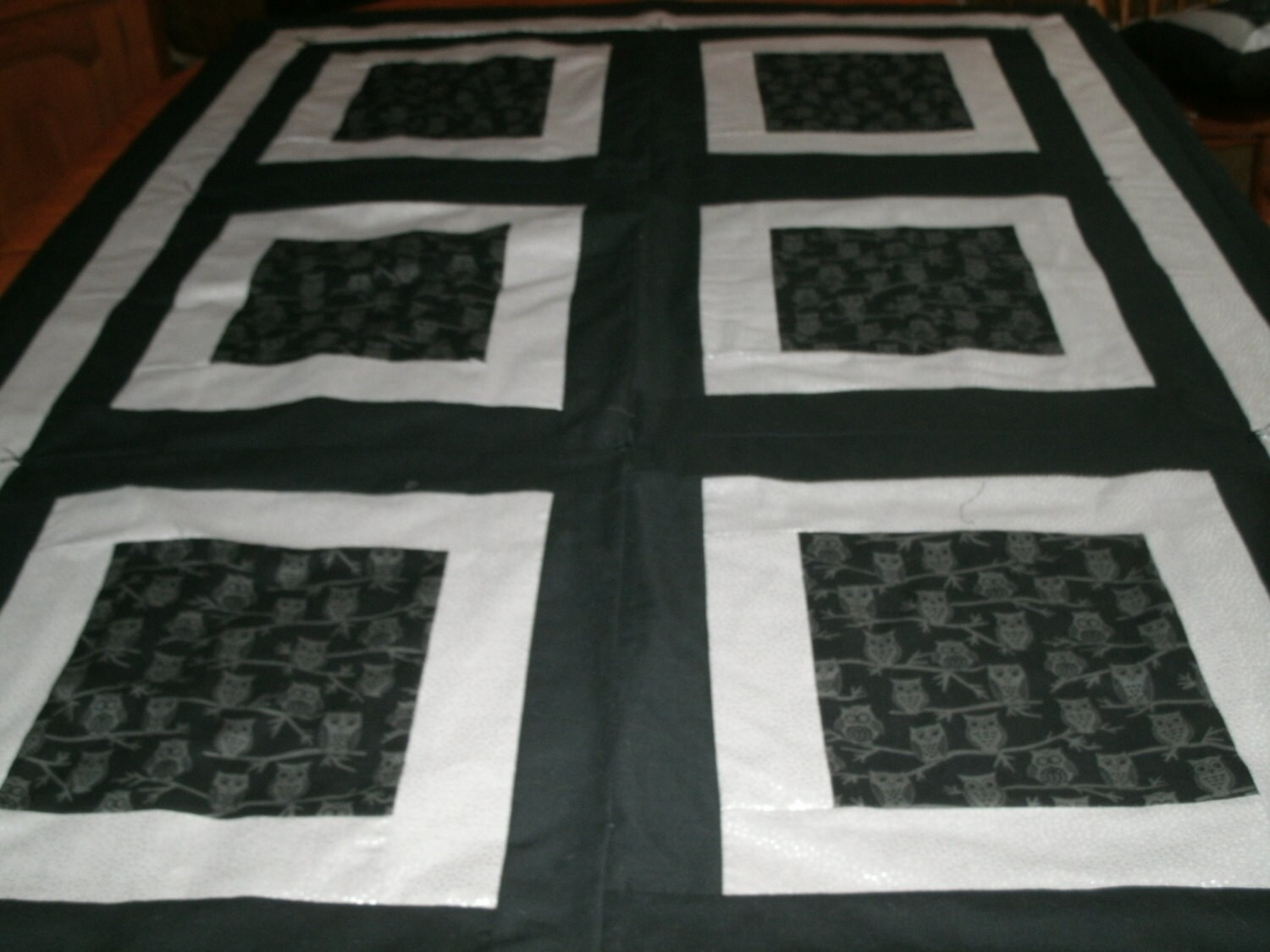 Owls Log Cabin Style Quilt Throw With Coordinating Pillow