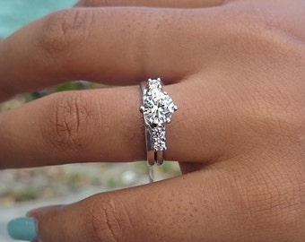 traditional style engagement ring wrap sterling silver with cubic zirconia 15ct - Wedding Ring Wrap