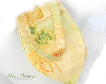 Gold Satin Floral Print Brocade Bag/Purse/Makeup Pouch/Travel Bag, Vintage Gift Bag Accessory