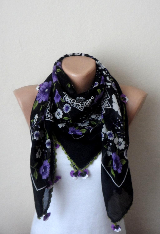 black scarf flower lavender turkish scarf oya scarf print
