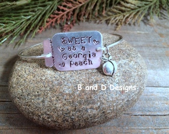 Sweet as a Georgia peach bangle bracelet
