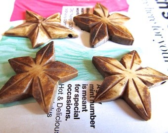 Star Pendants, Carved Bone, Antiqued Bone Charms, Celestial Symbol, Brown Star Dangle, Handcarved in Indonesia, Tea Stained Bone Charm, 2 Pc
