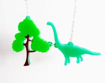 Brachiosaurus charm necklace
