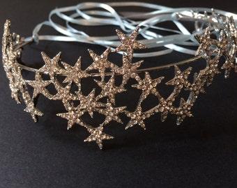 Sparkle Stars Bridal Bridesmaids Swarovski rhinestones crystals Hair Headband Tiara