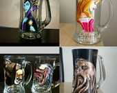 One Hand Painted Beer Mug: Your character/theme of choice