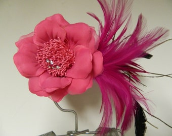 Vintage inspired bright pink flower fascinator hair clip brooch with feathers