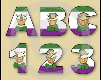 The Joker (Batman) Alphabet Letters & Numbers Clip Art Graphics