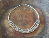 Bohemian Jewelry Layering Necklace, African Bib Antique White and Heishi Beaded Jewelry
