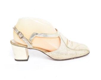 Vintage 60's Golden Slingback Heels