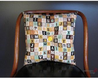 vintage alphabet cushion