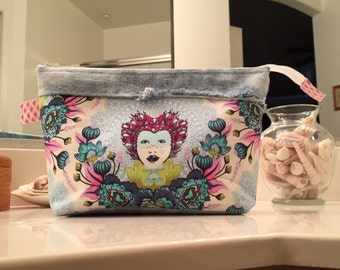 Tula Pink, Elizabeth.....Zipper Cosmetic Bag or Pouch, Repurposed Jeans, One of a kind.