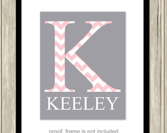 Baby girl nursery art, nursery monogram art, personalized baby gift, baby girl wall art, choose your colors