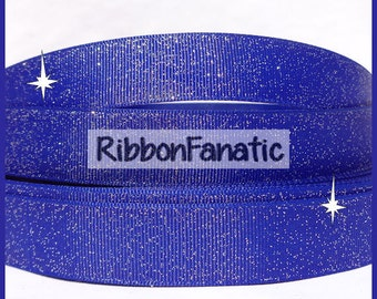"5 yds 7/8""  Royal Blue Sparkle Solid Color Glitter Grosgrain Ribbon"