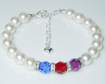 Swarovski White Pearl and Crystal Birthstone Bracelet - Choose 1 birthstone color or mix and match