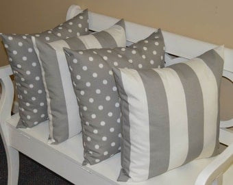 """Set of 4 ~ 20""""  Gray and White Stripe & Gray and White Ikat Polka Dot Indoor / Outdoor Decorative Pillows"""