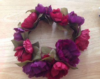 Faerie Crown, Flower Crown, Flower Headband, Music festival - Red and Purple Flowers