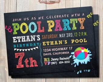 Chalkboard Pool Party Invitation. Summer party. DIY card. Digital Printable Card