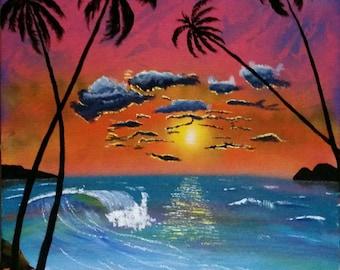 Original Beach Sunset in acrylic,  beautiful handmade painting of beach sunset, turquoise art, sea scape painting, beach sunset on canvas