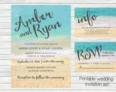 Beach wedding invitation. Ocean and sand in the background. Printable file. JPG or PDF available. Tropical, beach wedding theme.