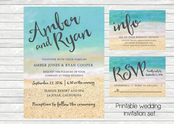 Beach Themed Wedding Invitations Templates: Items Similar To Beach Wedding Invitation. Ocean And Sand