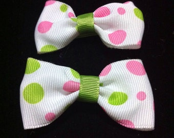 Hair bows white with pink and green polka dots