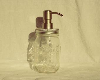 Clear Pint Ball Mason Jar Soap Dispenser or Lotion Pump