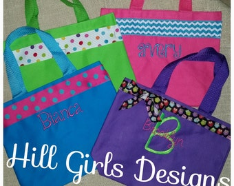 Monogrammed small tote bag with name and ribbon trim