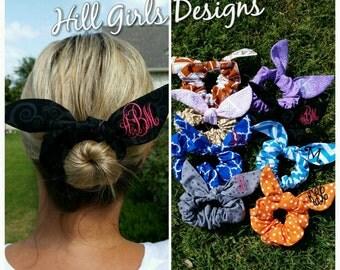 Monogrammed bowtie hair scrunchies (other colors/patterns available)