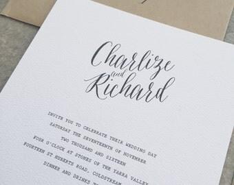 Sample DESIGN 25: calligraphy wedding invitation, rustic wedding invite, simple invitation, classic wedding invitation, kraft invitation