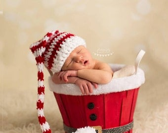 Long-Tail ELF PIXIE STOCKING Hat, Christmas Photo Props, shower gift, Preemie, Newborn, baby, toddler, child, pompom hat, My 1st Christmas