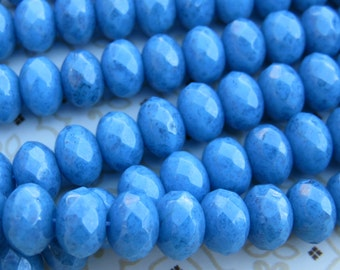 Blue Turquoise Lumi Faceted Fire Polish Czech Beads, 24 Beads - Item 3217