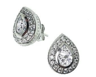 Katie Price Style Diamond Drop Earrings, pear shaped with cubic zirconia