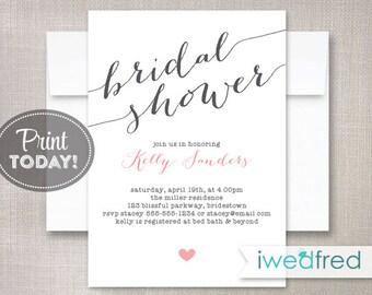 Bridal Shower Invitation, Bridal Shower Invitation, Printable Bridal Shower Invitation, DIY Invitation, Invitation Template #BR025