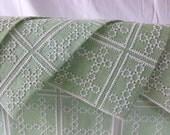 Vintage Set of 6 Woven Linen Cool Mint Green with White Needle Work Placemat Sets with Napkin
