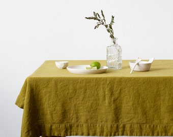 Moss Green Stone Washed Linen Tablecloth