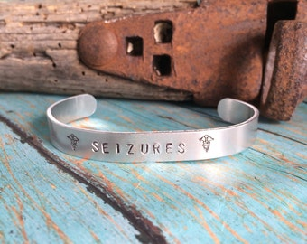 Hand Stamped Medical ID Aluminum Cuff Bracelet