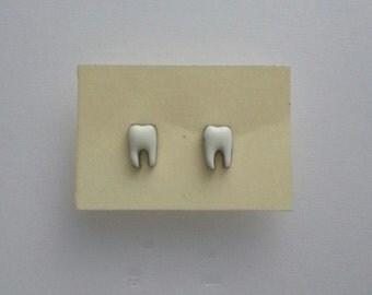 White Tooth Stud Stainless Steel Earrings EML1082-TS490