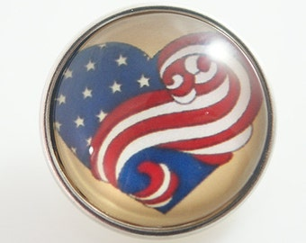 Flag Heart Swirl Photo - Snap It SKB2567-N  Popper Chunk Snap Button Interchangeable 18mm 20mm snap