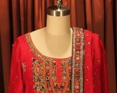 Red silk 3 piece shalwar kameez with embroidery detail Pakistani Indian