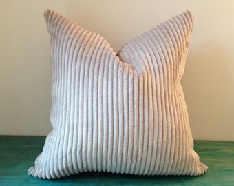 "Pillow Covers - 18"" x 18"" Ultra Soft Taupe Beige Wide Wale Cotton Velvet Corduroy and Taupe Faux Suede Pillow Cover"