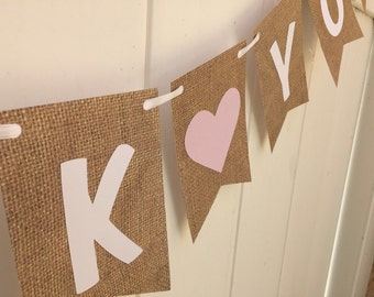 Thank you banner- Wedding, burlap and white , pink heart
