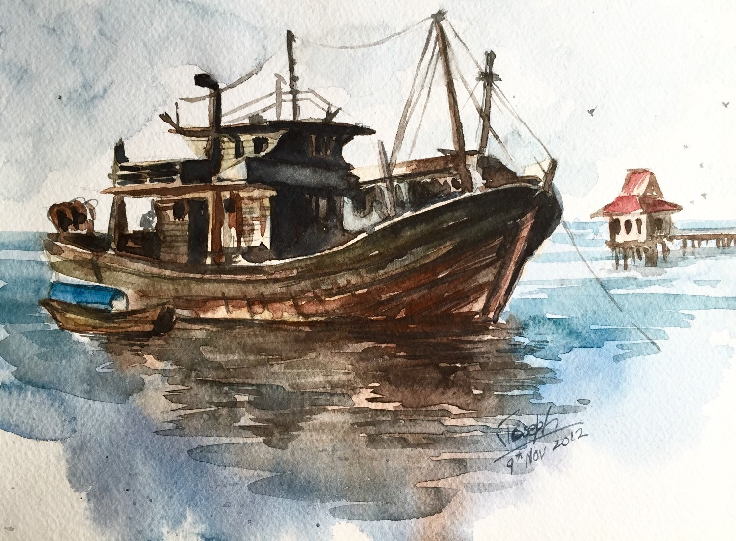 Boat painting fishing boat watercolors paintings by for Fishing boat painting