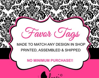 Favor Tags, Baby Shower Favors, Birthday Party Favors, Birth Announcements - Printed