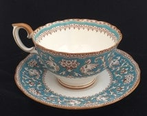 set of 4 Crown Staffordshire Ellesmere Turquioise English  Bone China Tea Cup and Saucer