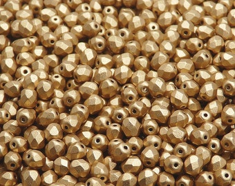 100 pcs Czech Fire-Polished Faceted Glass Beads Round 4mm Aztec Gold (4FP085)